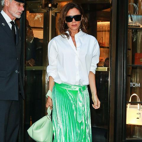 Victoria Beckham style: Bold Skirts Need White Shirts