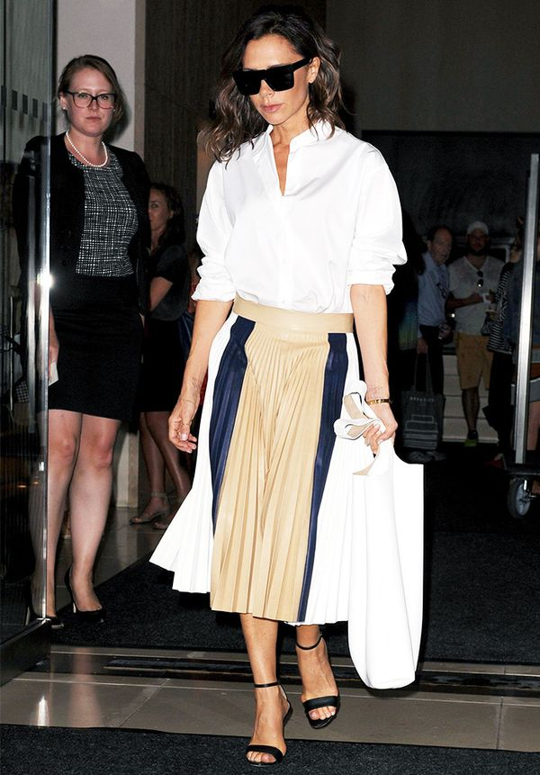 Victoria Beckham style: Midi Skirts Don't have to Be High-Waisted