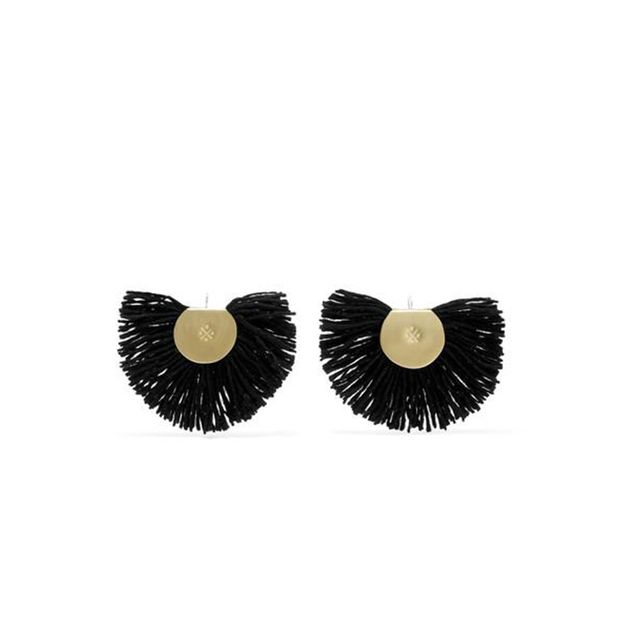Hand Fan Gold-tone Wool Earrings