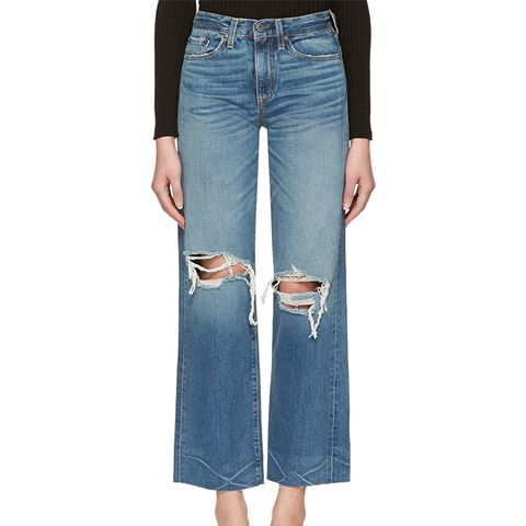 Indigo Basin Cropped Frayed Jeans