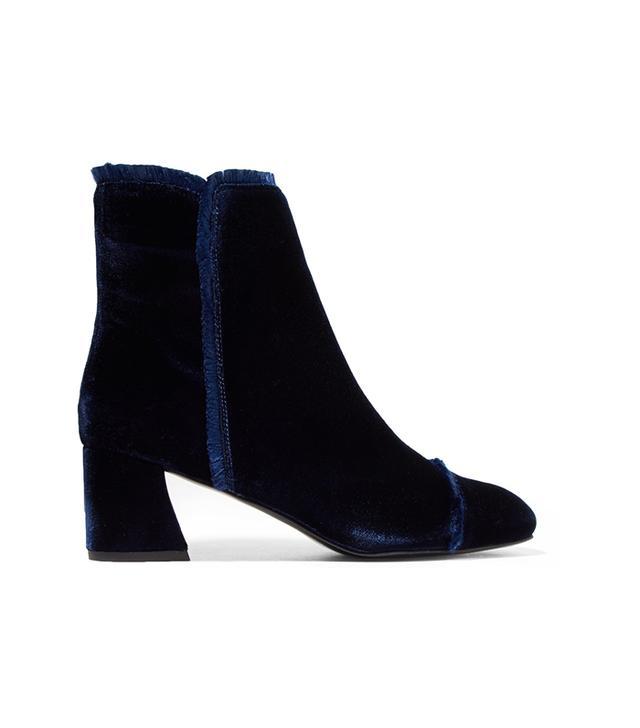On The Fringe Velvet Ankle Boots