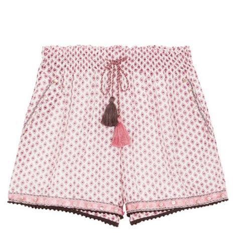 Tasseled Embellished Printed Cotton and Silk-Blend Gauze Shorts