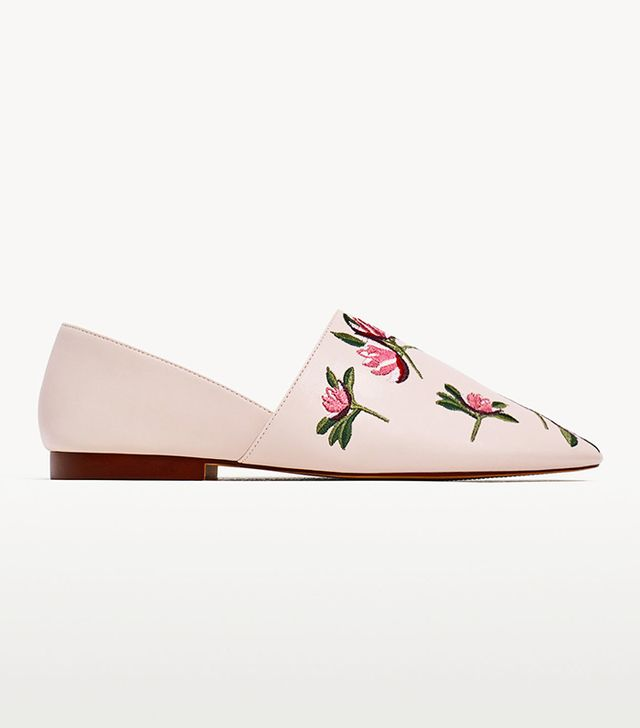 Zara Flat Floral Embroidered Shoes