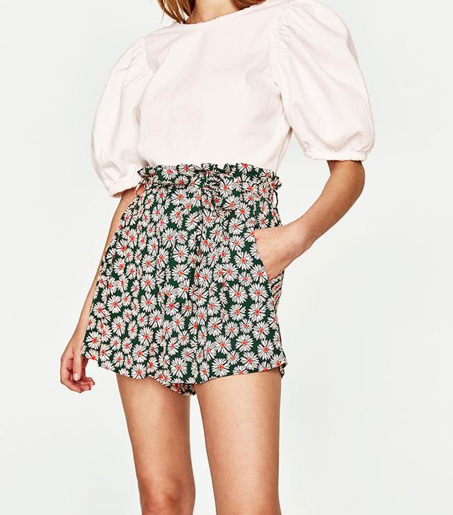 Zara Daisy Print Shorts