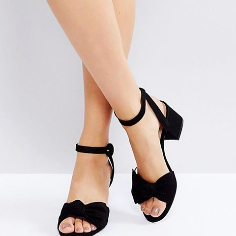 Beautie Black Mid Heeled Knot Front Sandals