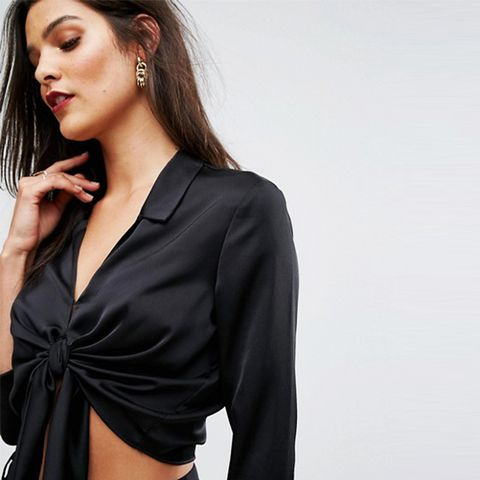 Tie Front Cropped Shirt