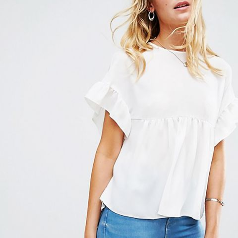 Tall Smock Top With Ruffle Sleeve