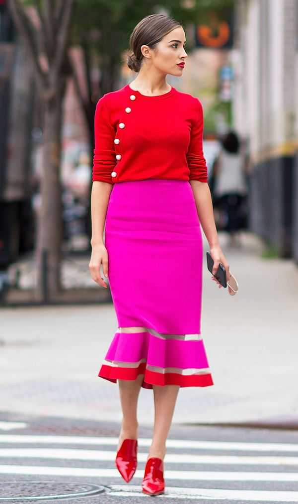 olivia culpo red and pink outfit
