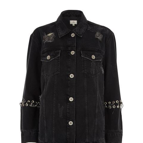Black Washed Eyelet Oversized Denim Jacket