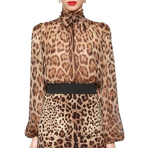 Leopard Print Sheer Silk Chiffon Blouse