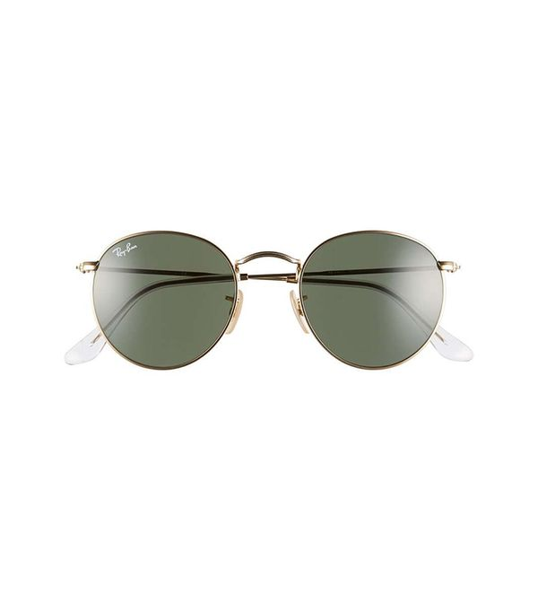 50Mm Round Sunglasses - Gold/ Green