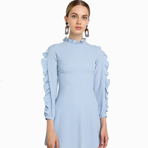 Blue Crepe Ruffled Sleeve Dress