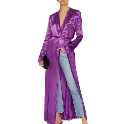 Raquel Silk Robe Dress With Fringe Details
