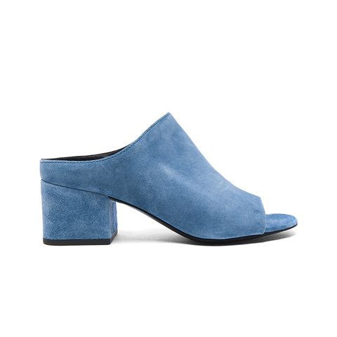Suede Cube Open Toe Slip-Ons