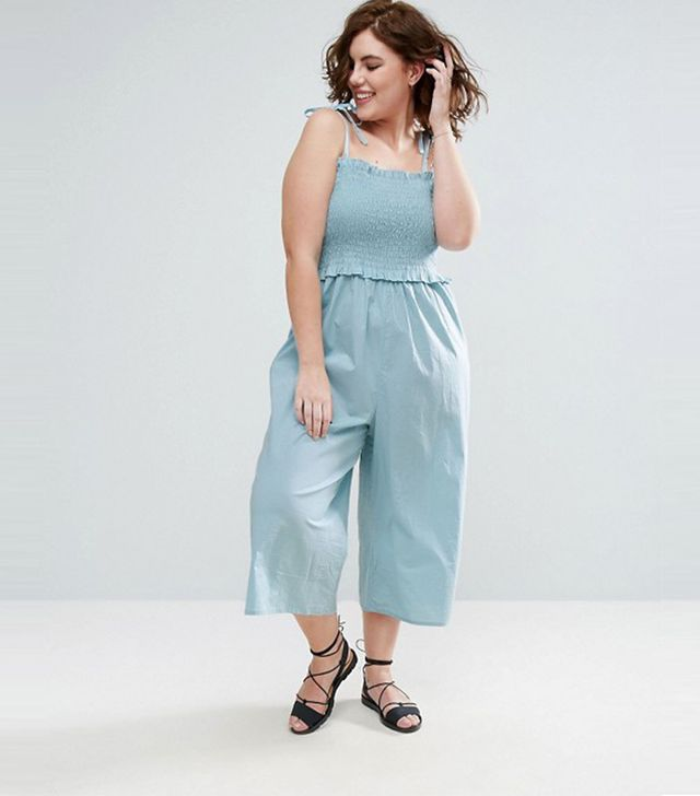 ASOS CURVE Jumpsuit in Cotton with Shirred Bodice