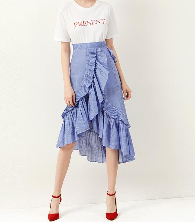 Storets Carrie Ruffle Unbalance Skirt