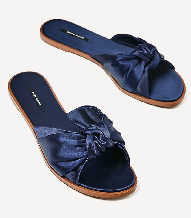 Zara Satin Bow Slides in Navy Blue