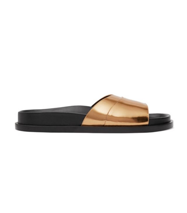 Jil Sander Mirrored-Leather Slides