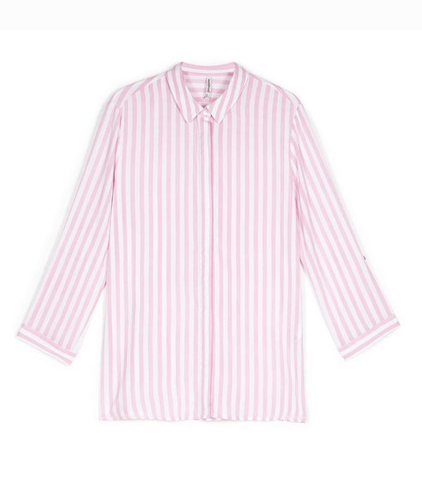 Stravidarius online fashion shop: pink and white stripe shirt