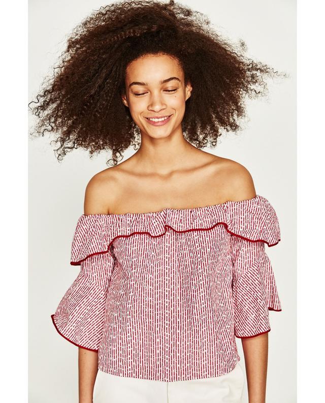 Zara Embroidered Striped Top