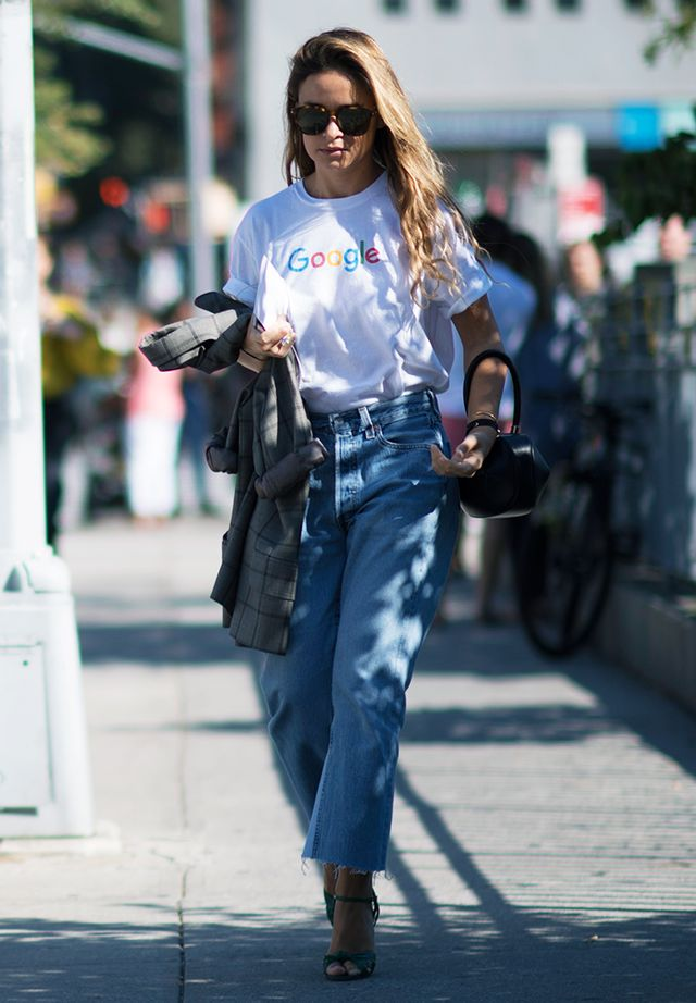 How to dress up a white tee and jeans: slogan tee and fancy heels