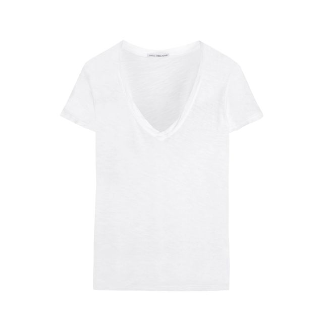 How to dress up a white tee and jeans: James Perse Casual Slub Cotton T-shirt