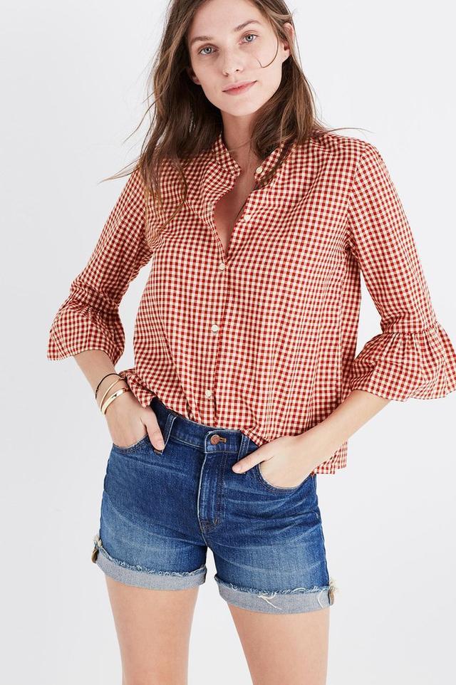 Gingham Bell-Sleeve Shirt