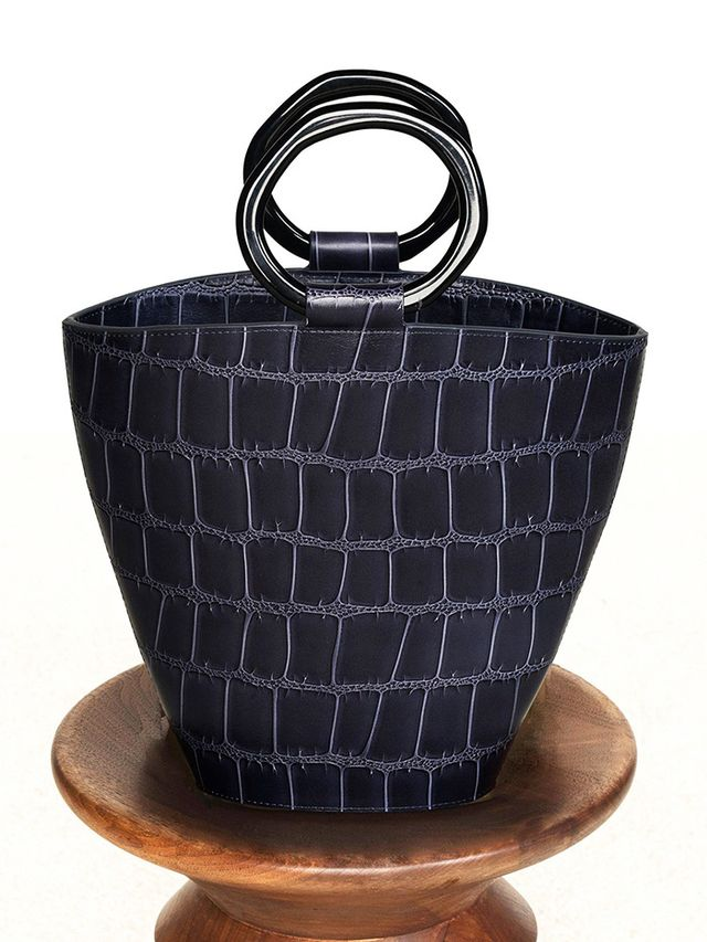 Staud Seberg Bag in Navy Faux Croc