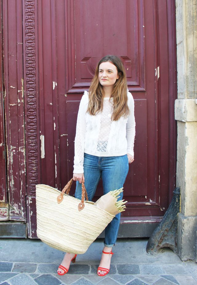 How to dress like a Parisian: Sezane jeans and basket bag