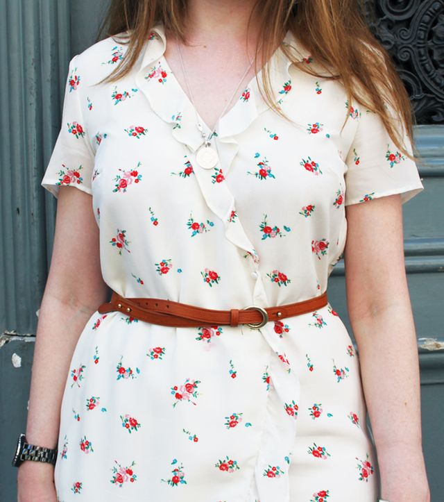 How to dress like a Parisian: Sezane floral dress and belt