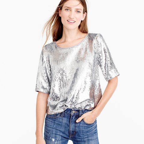 Sequin Party Top With Grosgrain Ties