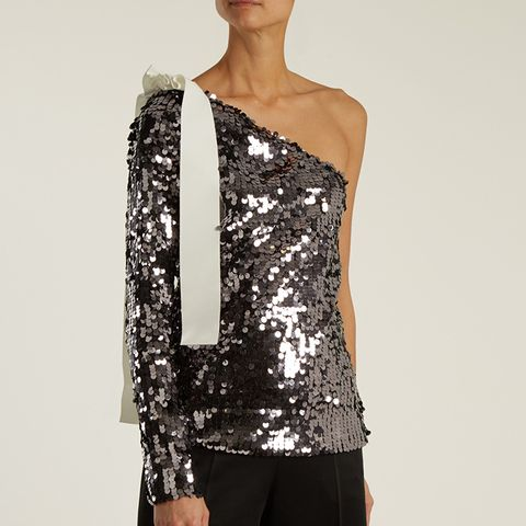 Sequined One-Shoulder Top