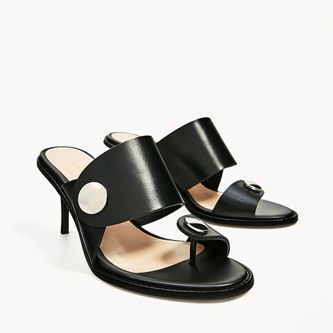 Medium Heel Leather Sandal