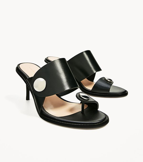 Summer's It Shoe Trend: Zara Medium Heel Leather Sandal