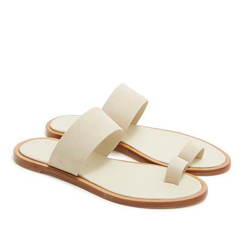 Minimalist Suede Sandal in Sand