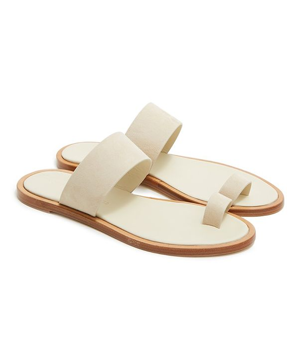 Summer's It Shoe Trend: Woman by Common Projects Minimalist Suede Sandal in Sand