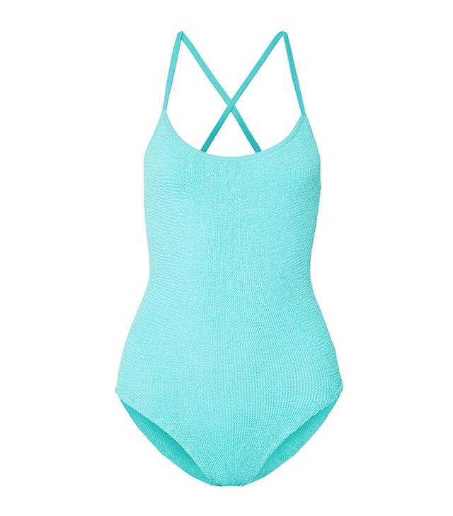 Bette Bow-embellished Seersucker Swimsuit