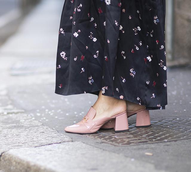 pink block heel mules