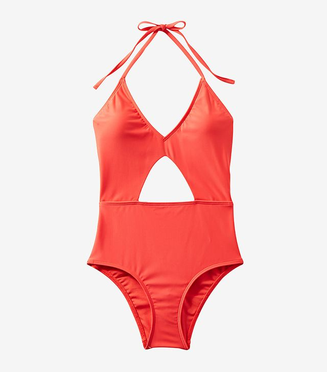 Color Block Cut-out One-piece Swimsuit