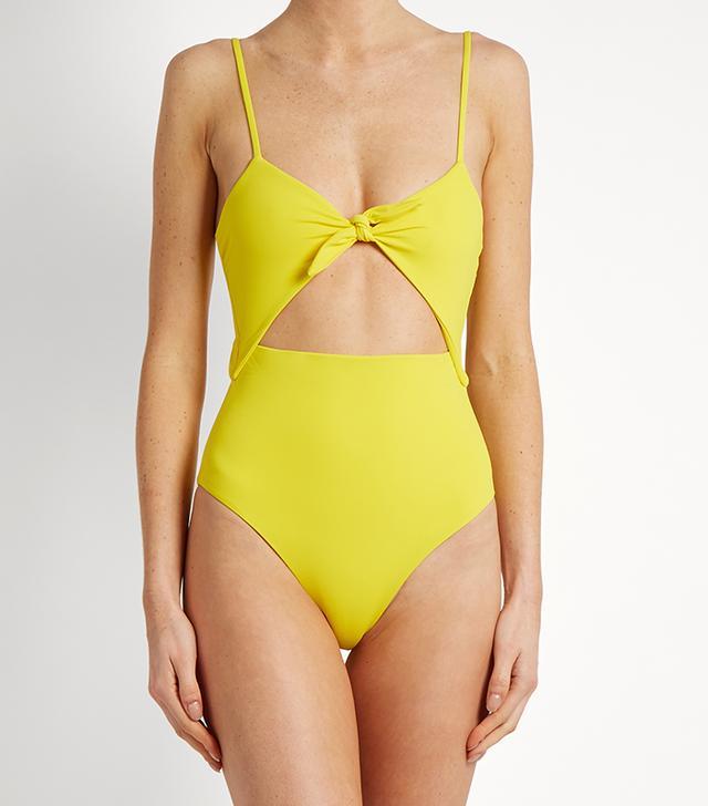 Tie-front cut-out swimsuit