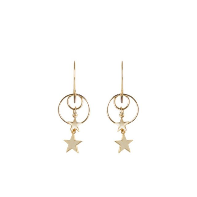 Double Ring Star Hook Earring