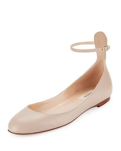 Tango Leather Ankle-Wrap Flat