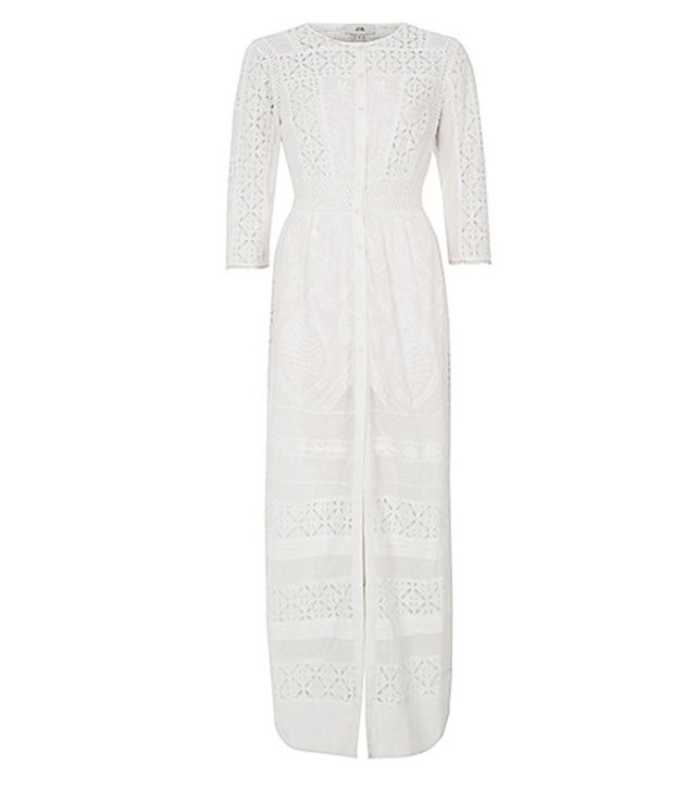 River Island White Lace Panel Embroidered Maxi Shirt Dress