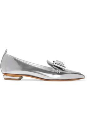 - Beya Bow-embellished Metallic Leather Point-toe Flats - Silver