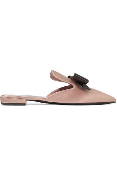Bow-embellished Satin Slippers