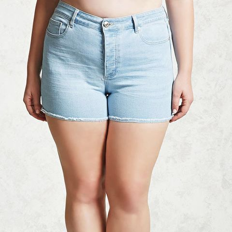 Plus Size Frayed Denim Shorts