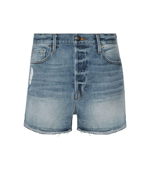 Le Original Tulip Distressed Denim Shorts