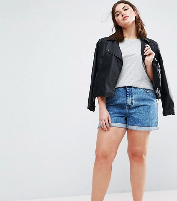 ASOS CURVE Denim Mom Shorts in Luella Blue Wash