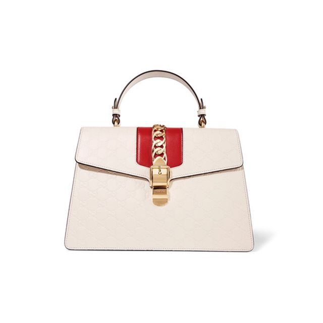 Gucci Sylvie Chain-Embellished Embossed Leather Tote