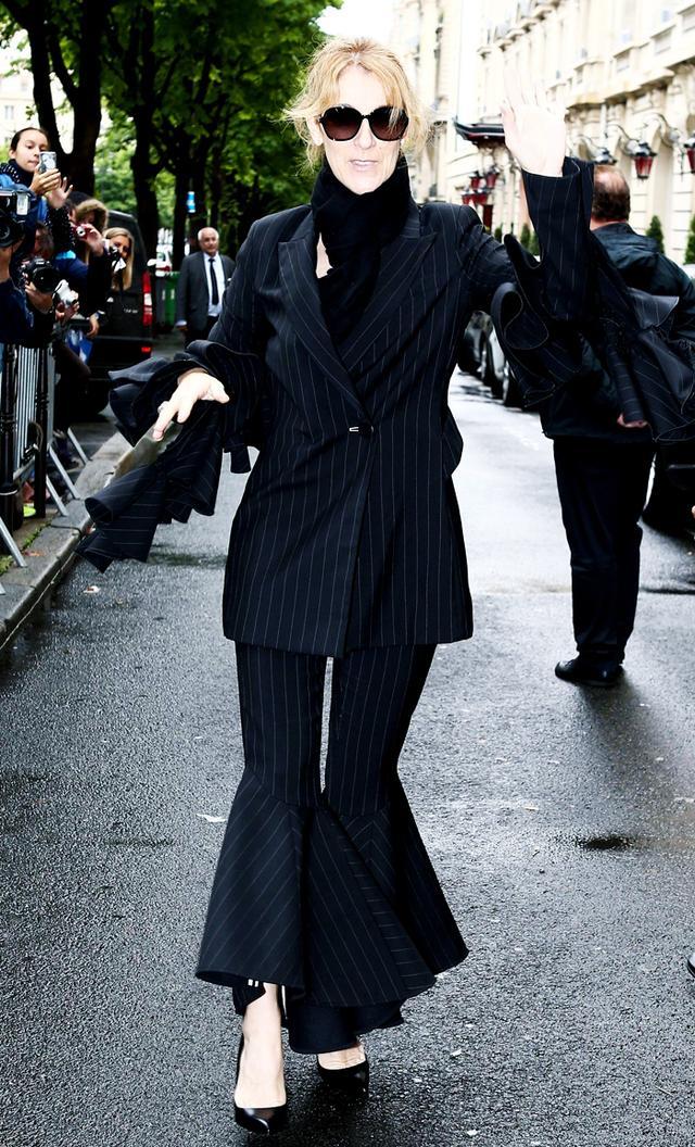 Céline Dion Paris Fashion Week wardrobe: Ellery trousers and jacket